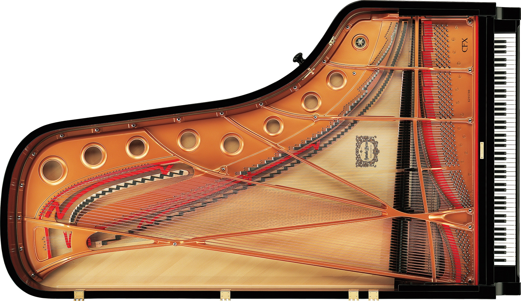 Internal parts of a grand piano
